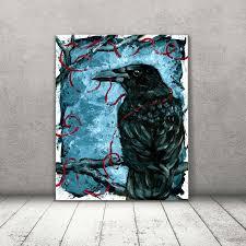 crow art crow canvas raven art blue home decor rustic