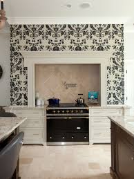 wallpaper for kitchen backsplash transitional kitchen design idea with wallpaper backsplash 8153