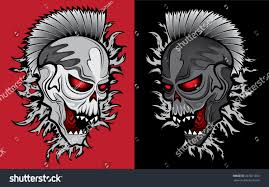 zombie ghost halloween skull glowing eyes stock vector 267871202