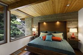 mid century modern bedroom white varnished wooden frame round