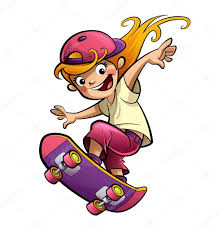 cartoon happy smiling kid with skateboard in sport mood