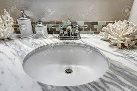 Vanity Cabinet With Top Modern Bathroom Vanity Cabinet With White Granite Top Sink View