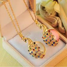 crystal necklace gold chain images Peacock necklaces colorful crystal bohemia gold chain fashion jpg