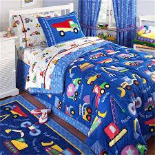 Truck Bedding Sets Blue Construction Bedding For Boys Comforter Sham 2pc Set