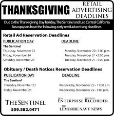 thanksgiving day retail deadlines ad vault hanfordsentinel