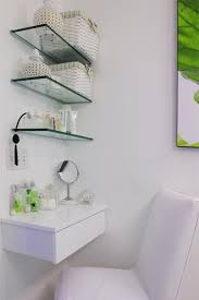 Glass Shelving Bathroom by Wall Glass Shelves Over Make Up Table The Benefits Using Wall