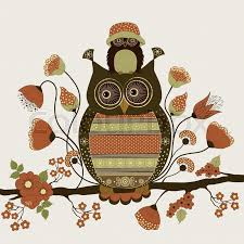 stylized ornamental owls on floral branch stock vector