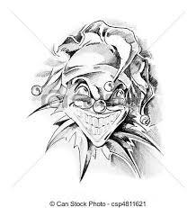 stock photography of sketch of tattoo art clown joker csp4811621