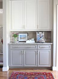 two toned kitchen cabinets white on top gray on bottom with