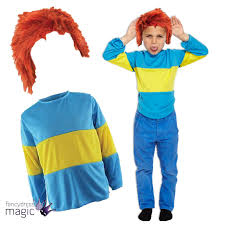 168 halloween costumes kids childs book week blue yellow striped jumper wig fancy dress