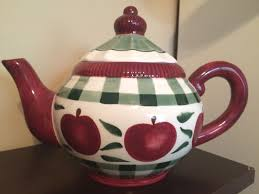 young u0027s exclusive teapot 1999 apple plaid country kitchen ceramic