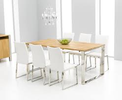 White And Oak Dining Table Roseta Oak Chrome Dining Table Oak Furniture Solutions