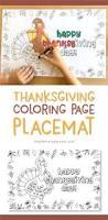 thanksgiving placemat coloring printable kids