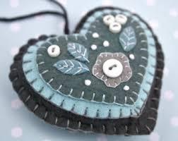 felt ornaments handmade blue and white snowflake