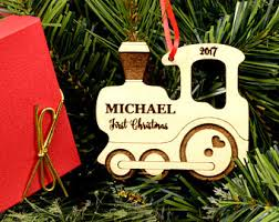 personalized baby first christmas ornament engraved wooden
