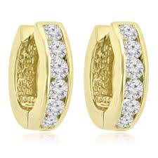 hoop huggie 1 20 ct cut diamond hoop huggie earrings in 14 kt