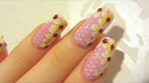 pink snake skin and flowers design with pink rhinestones nail
