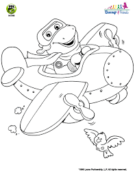 barney friends barney airplane coloring pbs kids