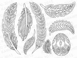 feathers coloring page gift wall art line drawing