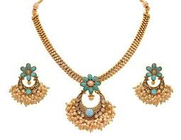 turquoise blue stone necklace images Jfl gold plated turquoise blue stone pearls pendant at rs 2149 jpg