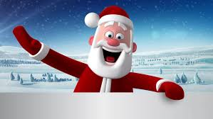 3d new year greeting card animation of santa claus