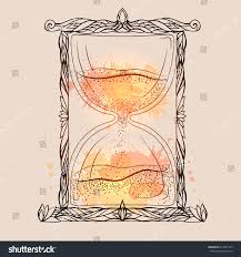 illustration hourglass doodle pattern watercolor spray stock