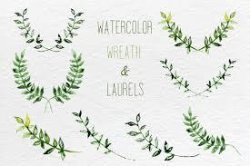 watercolor set of laurel wreath and leaves clip art branding
