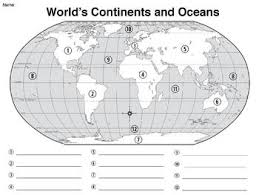 map of continents and oceans worksheet blank map of continents