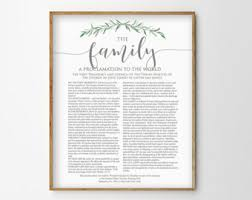 framed family proclamation printed etsy