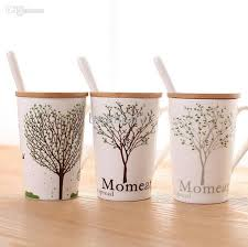 wholesale heart tree ceramic coffee mug tea cup with cover and