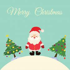 christmas card with santa claus and christmas tree vector