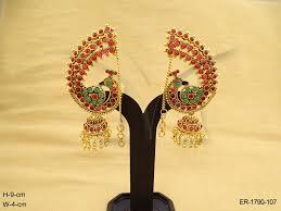 kempu earrings whats trending peacock in style jhumki kemp earrings manek
