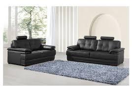 ensemble canapé pas cher ensemble canapés 2 et 3 places davinci en cuir noir prix promo