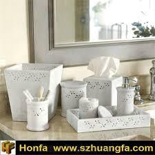 7 pcs bathroom accessory marble made bianco carrara cd white