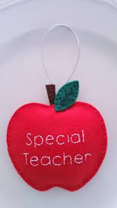 teacher apple personalized felt christmas handmade ornament felt