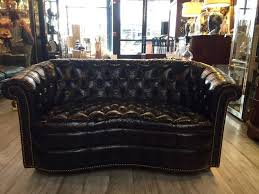 Curved Sofas And Loveseats Tobacco Brown Curved Tufted Leather Chesterfield Sofa