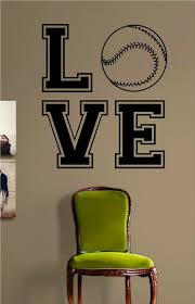 love baseball softball design sports decal sticker wall vinyl