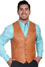 mens on ranch tan lamb leather scully western vest