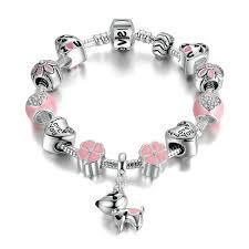 flower charm bracelet images Pink hearts flower charm bracelet prettypamperedpooch jpg