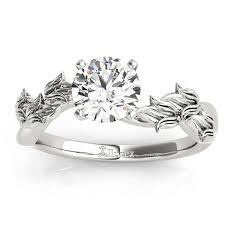 leaf and vine engagement ring solitaire vine leaf engagement ring setting 14k white gold