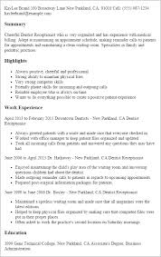 Sample Of Resume For Receptionist by Professional Dentist Receptionist Templates To Showcase Your