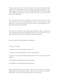 remarkable sample cover letters for high students 39 for