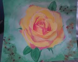 acrylic paint rose w water color background by michellehaws on