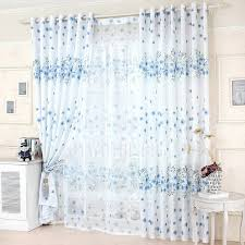 Blue And White Floral Curtains Decorative Blue Floral Curtains White Polyester Bedroom Curtains