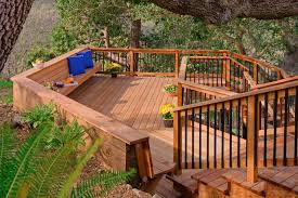 Decks With Benches Built In Redwood Decking Deck Industrial With Built In Bench Corner Windows