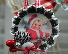 vintage style tart tin glitter christmas ornament snowmen