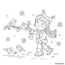 coloring outline cartoon feeding birds winter