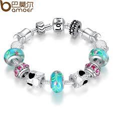 silver charm bead bracelet images Bamoer antique silver charm bracelet bangle silver 925 with jpg