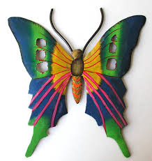 blue green butterfly painted metal design tropical