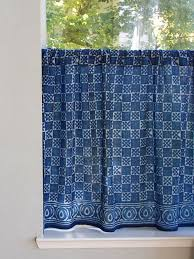 Kitchen Tier Curtains Indigo Blue Kitchen Cafe Curtain Batik Kitchen Tier Curtains